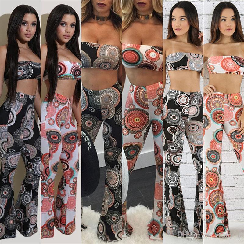 da95d394373 Cheap Boho Trousers Bras Sets Fashion Tie-dyed Pants Set Women Bohemian  Beach Summer Palazzo Wide Leg Pants +crop Top Vest Suits