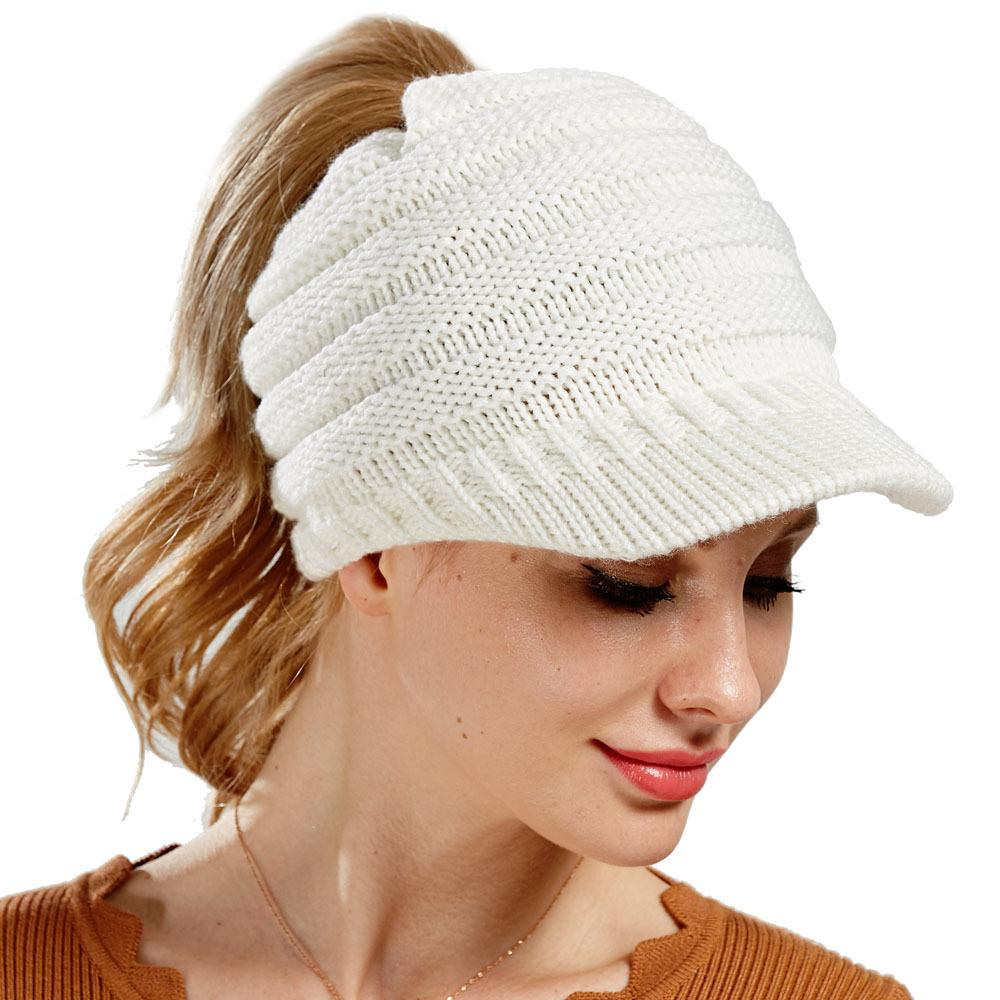 Women S Knitted Baseball Cap Open Ponytail Visor Cap Ski Cap Beanie Hat  Winter For Women Winter Ponytail Beanie Hats Visors Millinery From  Wpyechch b2d57470dc0