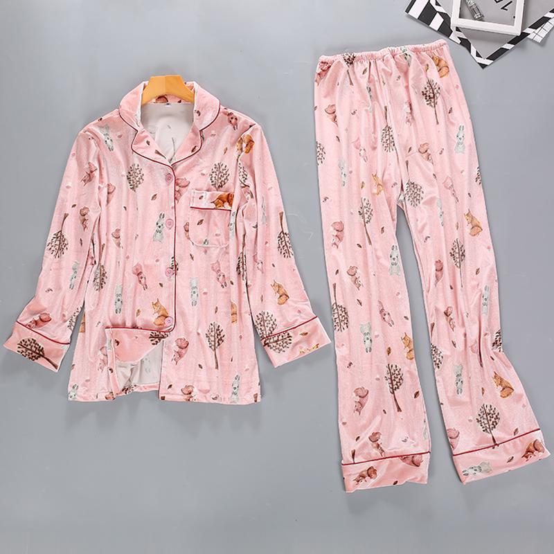 Ladies Sweet Pajamas Set Girl s Cute Sleepwear Set Print Pyjama ... 82178d8fb