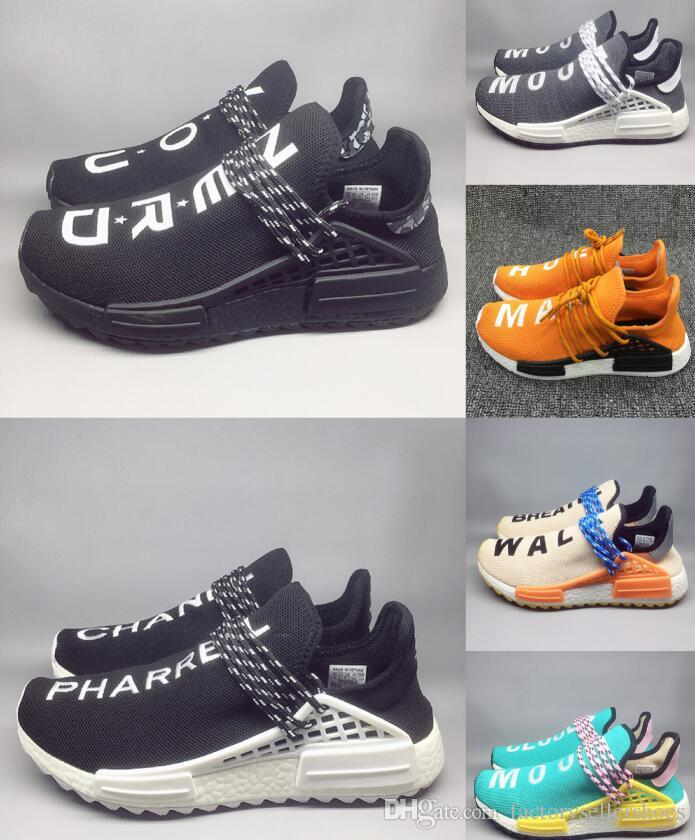 a80101e42 Creme X NERD Solar PacK Human Race Running Shoes Pharrell Williams Hu Trail  Cream Core Black Equality Trainers Mens Women Sports Sneaker Best Shoes For  ...