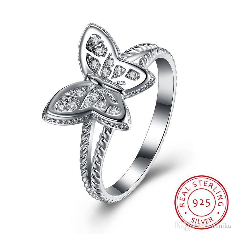 Real Sterling Silver 925 Ring , Luxury Austrian Crystal Ring, Fashion Butterfly Rings Silver Jewelry R112