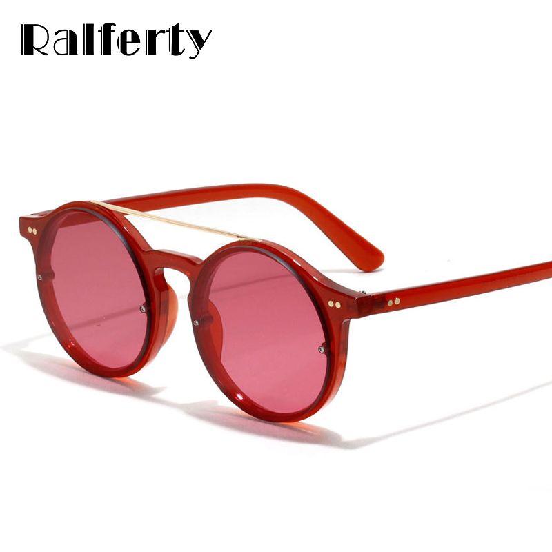 3a3ff2c202 Ralferty Vintage Red Sunglasses Women Brand Designer Transparent Sun Glasses  Round Double Bridge Eyewear Accessories Oculo W1340 Oculos Brand Oculos ...