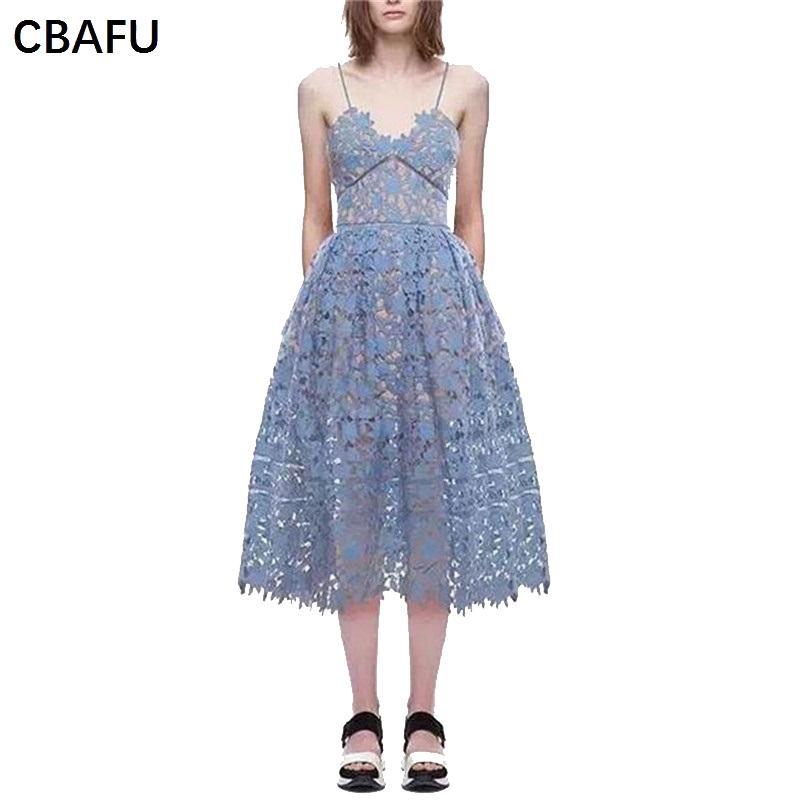 2019 CBAFU Long Paarty Dress Women Brand Designer Lace Dress Spaghetti  Strap Sexy V Neck Summer Dresses Self Portrait Sress X067 From Buttonhole 6c8e5a99c62e