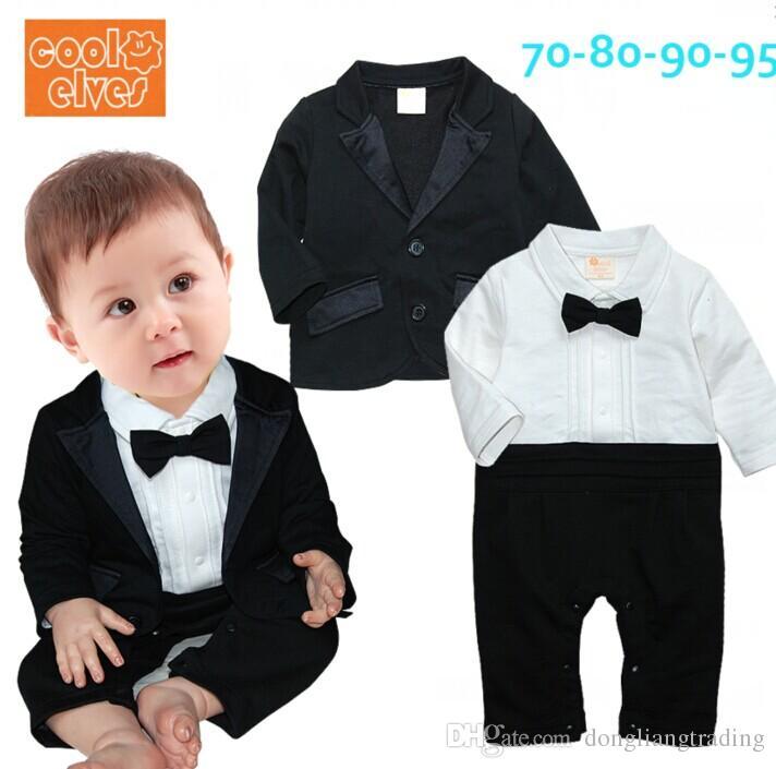 Compre Ropa Para Niños Baby Boys Conjuntos De Mameluco Caballeros Boda  Infantil Set De Pajarita Negro Manga Larga Mono Recién Nacido + Trajes De  Chaqueta ... e67156e4af5