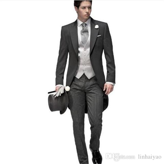 Grey Trajes De Hombre Wedding Suits For Men 3Pieces(Jacket+Pant+Vest+Tie) Tuxedo Terno Masculino Costume Homme Anzug Herren