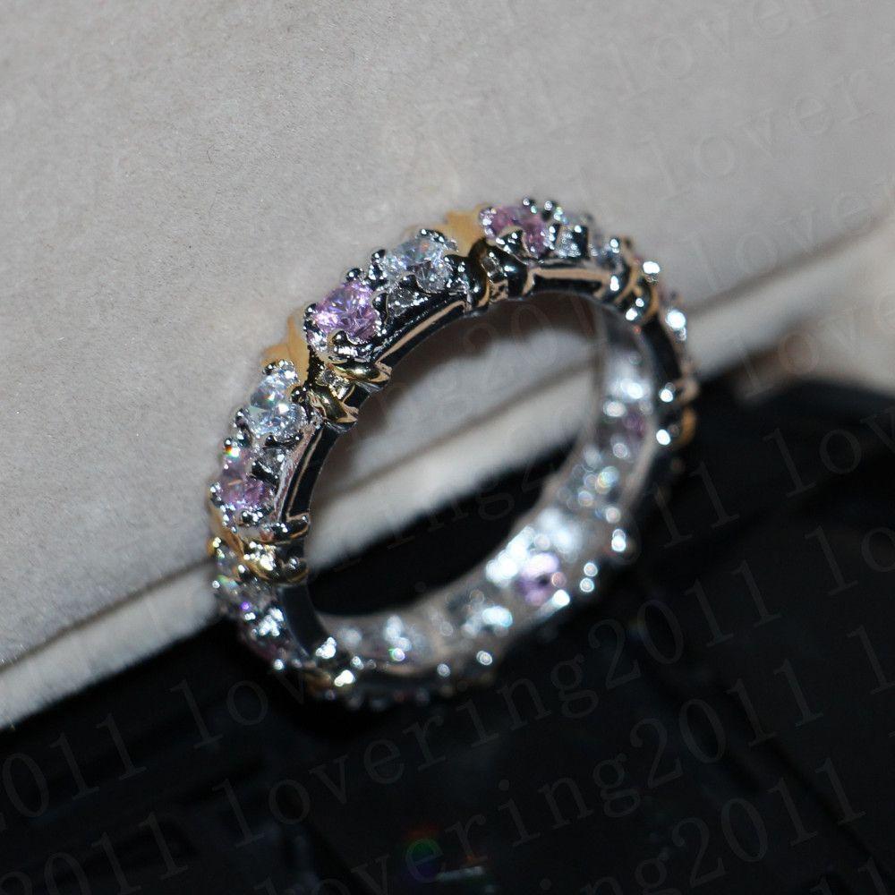 Choucong المرأة الأزياء الدائري اليدوية الوردي حجر الماس 10KT WhiteYellow الذهب معبأ خطوبة زفاف باند الطوق