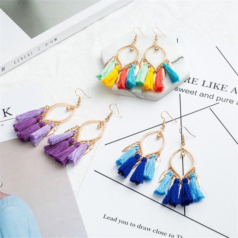 New Women Tassel Drop Earring Long Leaf Shape Fringed Ornament Double Twisted Popular Folk Style Earring Gift Ethnic Jewelry D925S