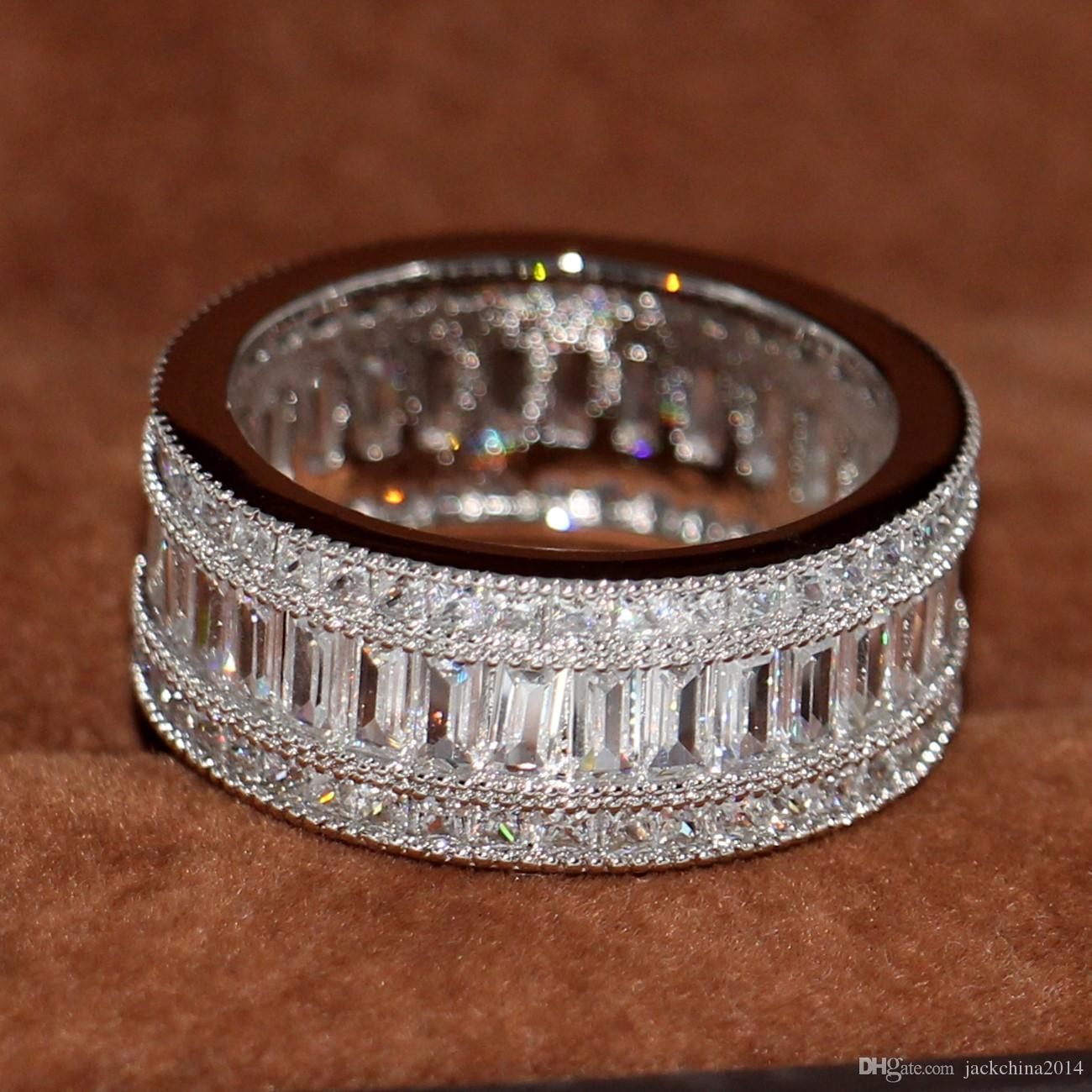 Envío libre al por mayor nuevo agradable completo corte de la princesa blanco Topaz Diamonique diamante simulado 10KT oro blanco GF anillo de la boda Sz 5-11