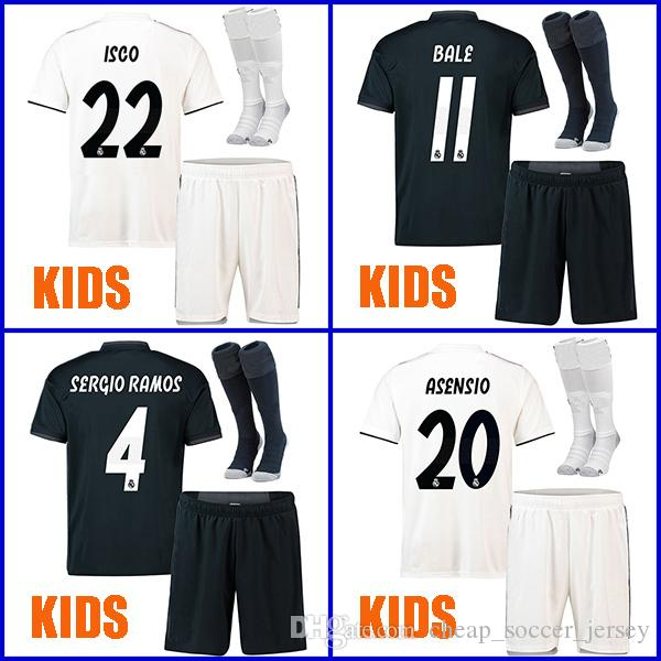 ISCO ASENSIO SERGIO RAMOS BALE Real Madrid Kids soccer jerseys 2019 Survetement YOUTH kits 18 19 uniform sets socks camisetas de futbol