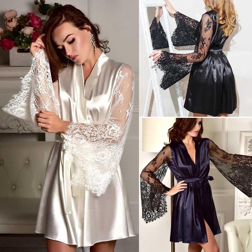 3bc6d8349e0 Women Lace Sleepwear Robe Bathrobe Sexy Lingerie Babydoll Night Gown Long  Sleeve Nightwear S1015 Designer Pyjamas Ladies Ladies Sexy Clothing From  Ruiqi06