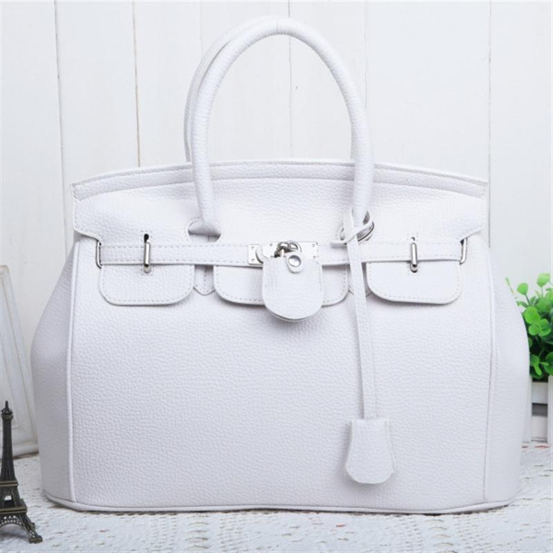 Wholesale large women handbag 35cm lock bag large size quality pu leather black and white lady purse casual tote Top-Handle Bags