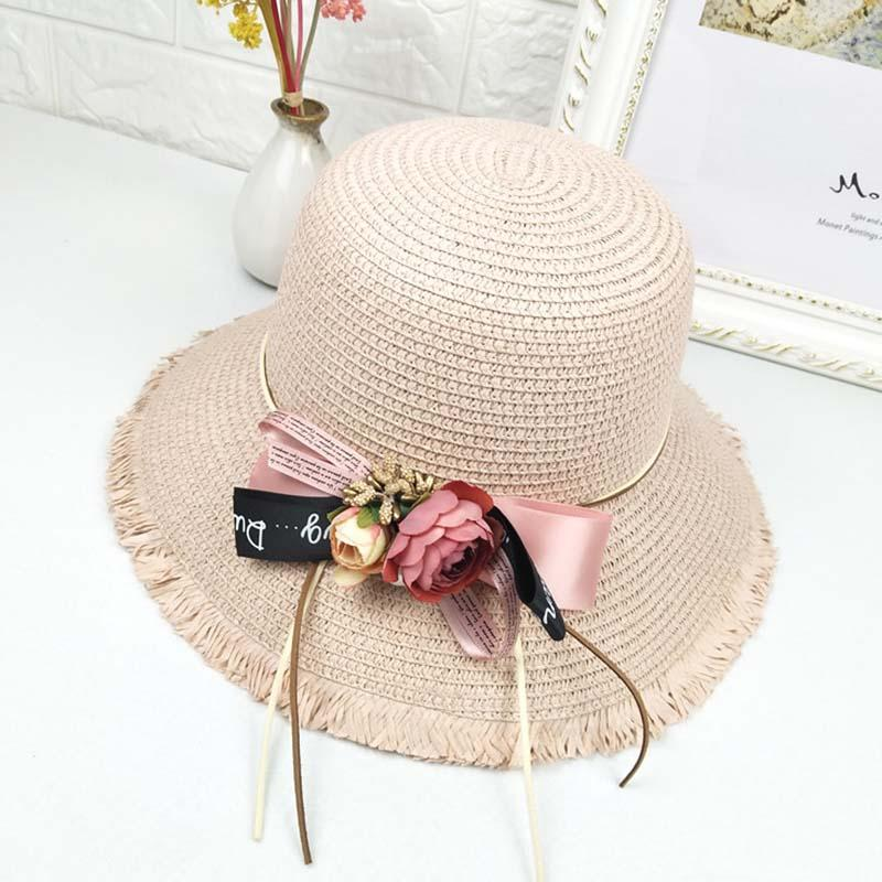 f23ec2a4cb384 Summer Fashion Sun Hats Flower Bow Travel Straw Hat Outdoor Beach ...