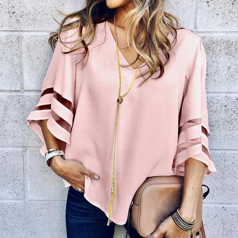 New Women Loose O Neck Tops Ladies Mesh Stitching Casual Holiday Blouse Shirt Female Blusas Tunic Shirts Tops Women's Clothing