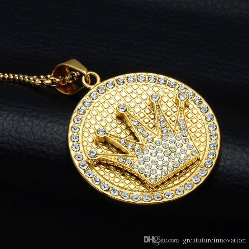 Wholesale Men Women Hip Hop Crown Pendant Necklace 18K Gold Plated Ice Out  Stainless Steel Rapper Hiphop Jewelry Necklaces Wolf Pendant Necklace  Beaded ... a05731bac