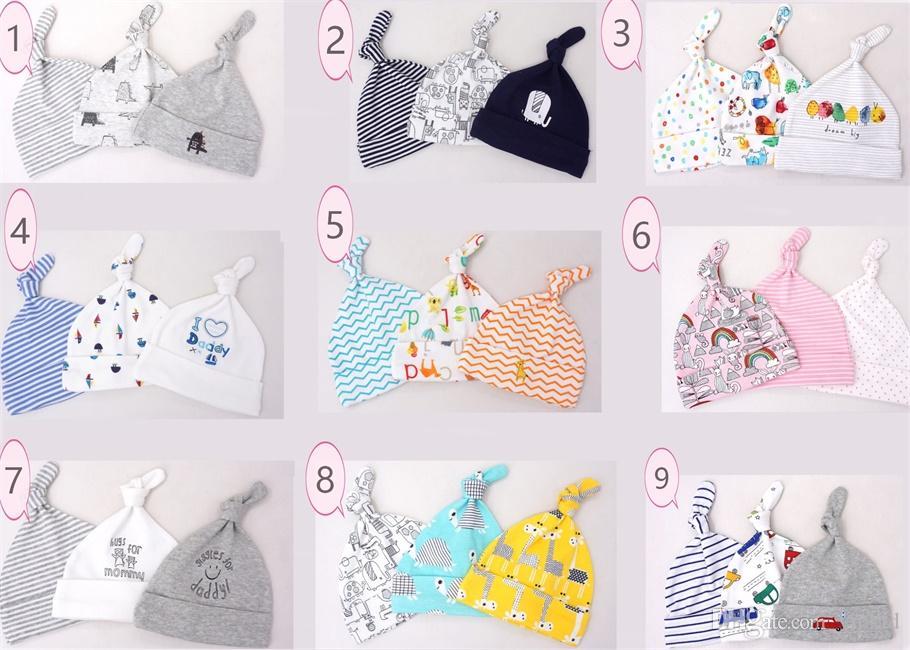 2018 bebek şapka 0-6 ay yenidoğan pamuk kap moda erkek ve kadın bebek bahar ve yaz 3 parça