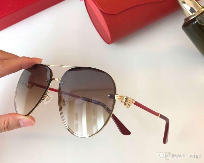 dc9df402868b Vintage Gold/Red Brown Sunglasses Men Classic Pilot Glasses Luxury ...