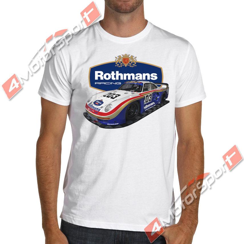1986 961 Rothmans Classic Racinger car T-Shirt Le Mans 24 Group B IMSA Classic Quality High t-shirt Style Round Style tshirt