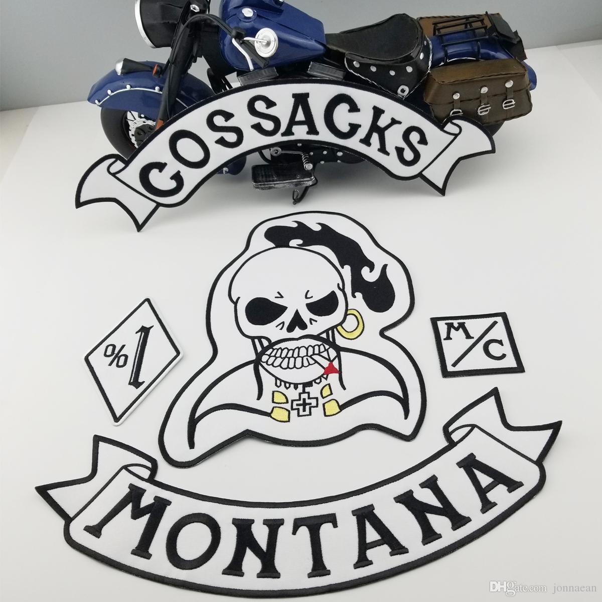 VENTA CALIENTE COSSACKS MONTANA SKULL MOTOCICLETA CLUB CHALECO OUTLAW BIKER MC CHAQUETA PUNK PARCHE DE ESPALDA GRANDE HIERRO MÁS COOLEST EN WEST PATCH ENVÍO GRATIS