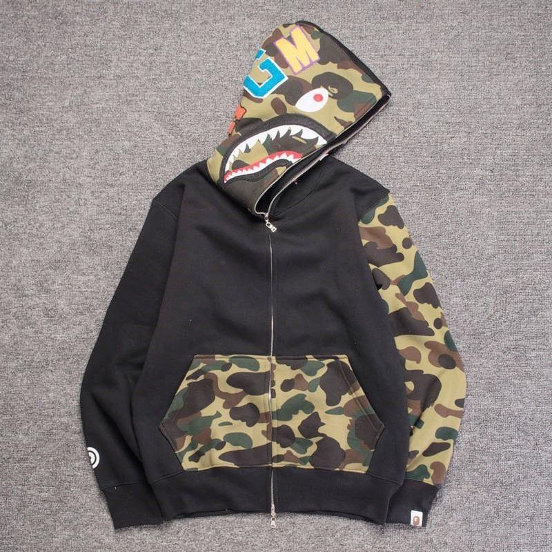 32fe9bff 2019 Hot A Bathing A Ape 18Bape FULL ZIP HOODIE SHARK Head Camo Jacket Long  Sleeve Full Zip Hoodie Sweater Star Space Shark Jacket Sweatshirts From ...