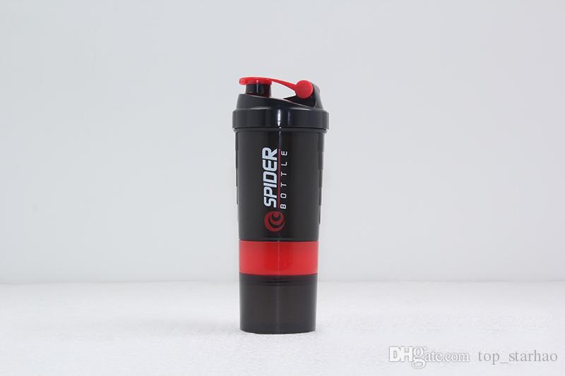 501-600Ml 3 in 1 Sport Wasserflasche Spider Protein Shaker Für Fitness Reisen Mit Skala Eingesetzter mischball Trinkbecher Tasse HH7-987