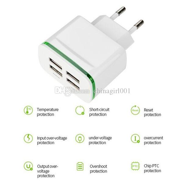 4 usb-anschlüsse 5 v 4a usb ladeadapter reise ladegerät adapter led licht lade für iphone 6 7 8 x samsung s9