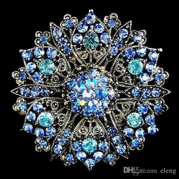2018 New arrival charm women 2.4 Inch Silver Plated Zinc Alloy Clear Rhinestone Crystal Diamante Women Large Flower Vintage Look Brooch 103