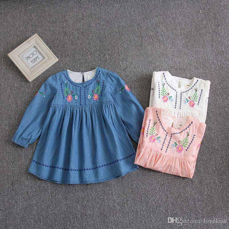 60502924f 2018 Autumn New Arrived Girls Dresses Embroidery Floral Kids Dresses ...