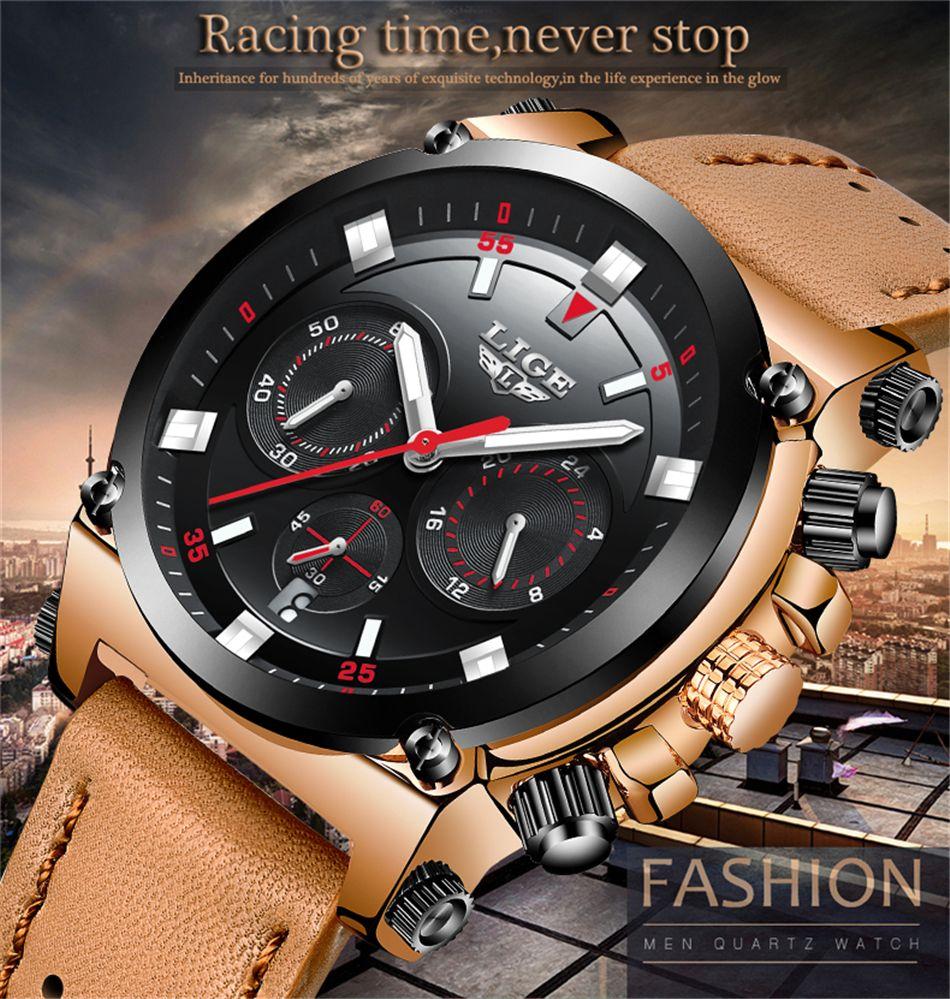 Men's Watches 2019 Fashion New Lige Top Brand Men Military Sport Watches Leather Led Digital Quartz Wrist Watch Waterproof Fashion Clock Relogio Masculino Quartz Watches