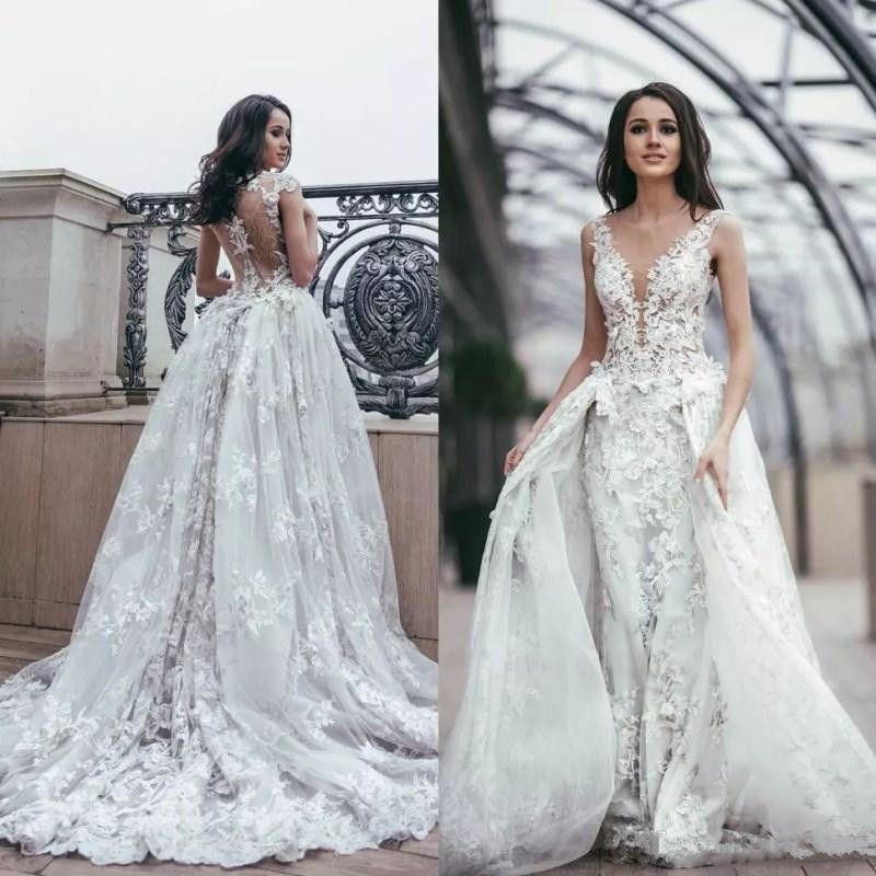 2018 Appliques Detachable Train Wedding Dresses Bridal Gowns V Neck ...