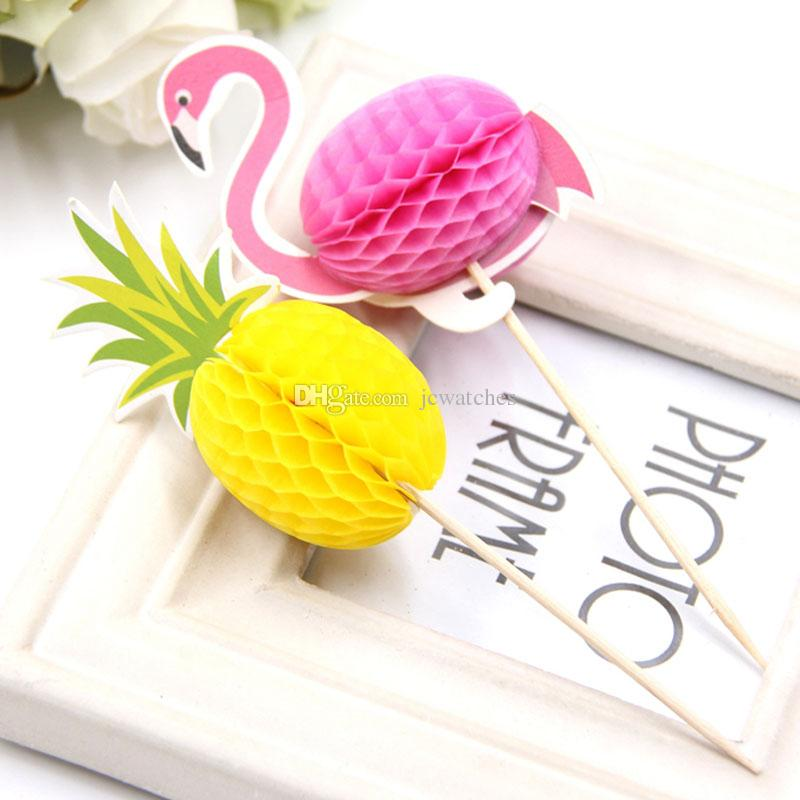 DIY FlamingoΠnapple Cupcake Toppers Cakes Topper Picks Wedding/Birthday Party Decoration Baby Shower Supplies