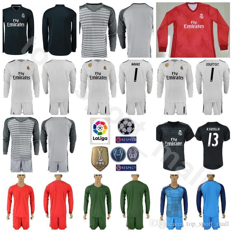 d1209bf65 Goalkeeper GK Soccer Real Madrid Long 1 Iker Casillas Jersey Set Champions 1  Keylor Navas 13 Casilla Thibaut Courtois Football Shirt Kits Canada 2018  From ...