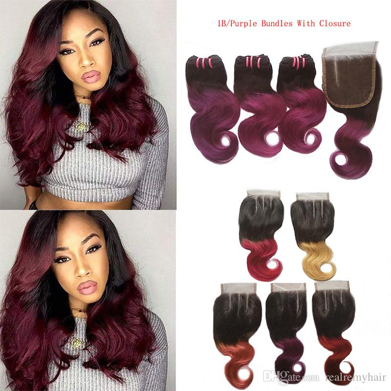 2019 Brazilian Ombre Virgin Hair 3 Bundles With Closure Body Wave