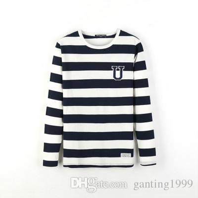 89697f93fa Utumn Outfit Young Students Han Edition Men Long Sleeve T Shirt Cotton Black  And White Horizontal Stripes Round Collar Body Blood Awesome T Shirt Sites  Tees ...