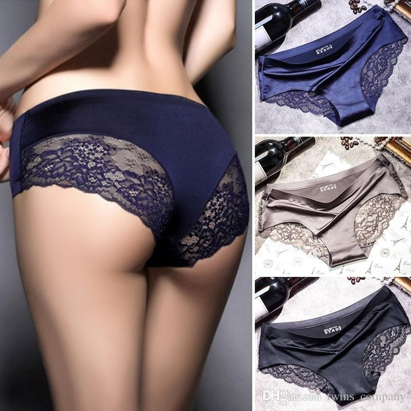 New Female Sexy Triangle Panties Underpants Comfortable Non-Trace Underwear Thin And Light Breathable Ice Silk Briefs