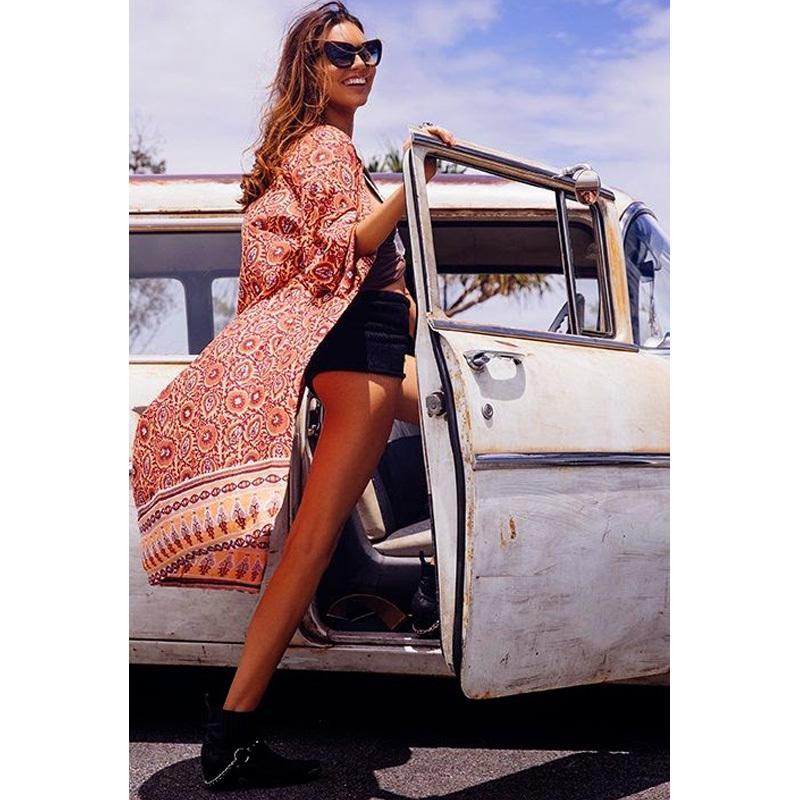 68392fff0c 2017 Summer Fashion Women Long Beach Cover Up Chiffon Kimono Allover ...