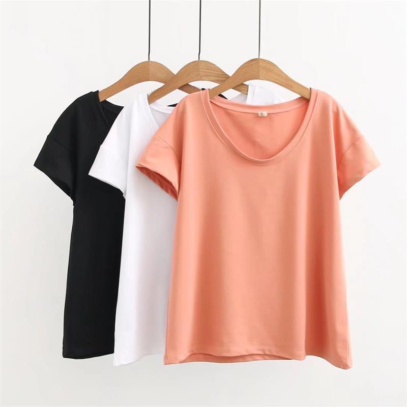 e3c25e6f0 Oversized Plus Size White Orange Cotton Summer Women T Shirts Simple Style  Tshirt O Neck Short Sleeve Ladies Top Female 4XL Crazy Tee Shirts Online  Cool ...