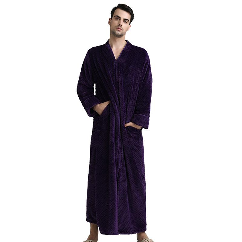2019 Long Style Male Flannel Kimono Robe Gown Winter Warm Sleepwear Casual  Bathrobe Full Sleeve Nightgown Loose Home Clothes M XL From Victoriata 5c3d27cc1