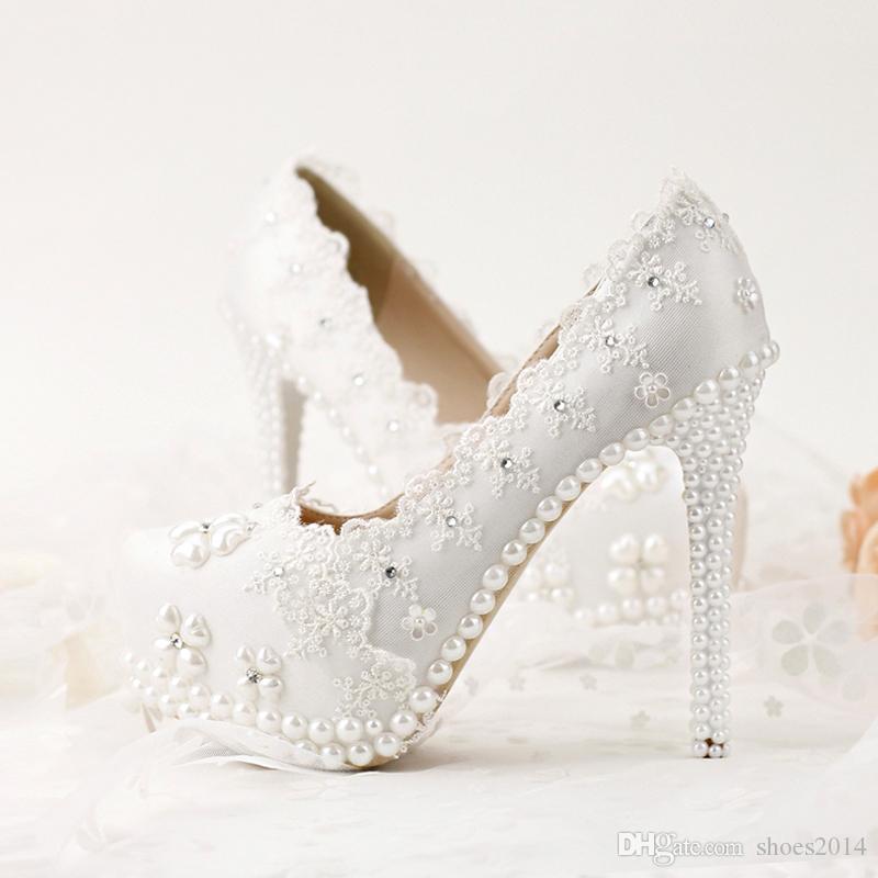 Korean Rhinestones Bridal Shoes White Lace Wedding Shoes Spring Lady ... ea518732e51c
