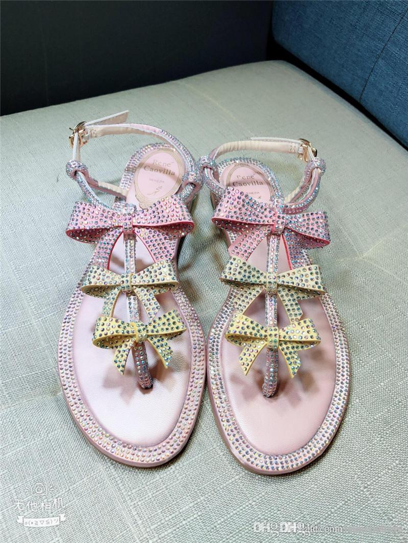 7fee1c7eb0ae 2018 Newest High Quality RENE CAOVILLA Pink Rhinestone Strass Pearl  Embellished Flat Thong Sandals With Original Box High Heel Shoes Designer  Shoes From ...