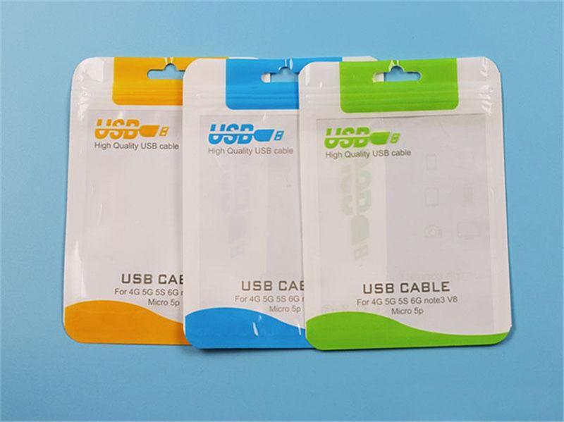 10.5 * 15 Scatole trasparenti il sacchetto del pacchetto al dettaglio caricabatterie cellulare Cavo di sincronizzazione del cavo micro USB auricolari audio iphone 6 più Samsung S6 Imballaggio