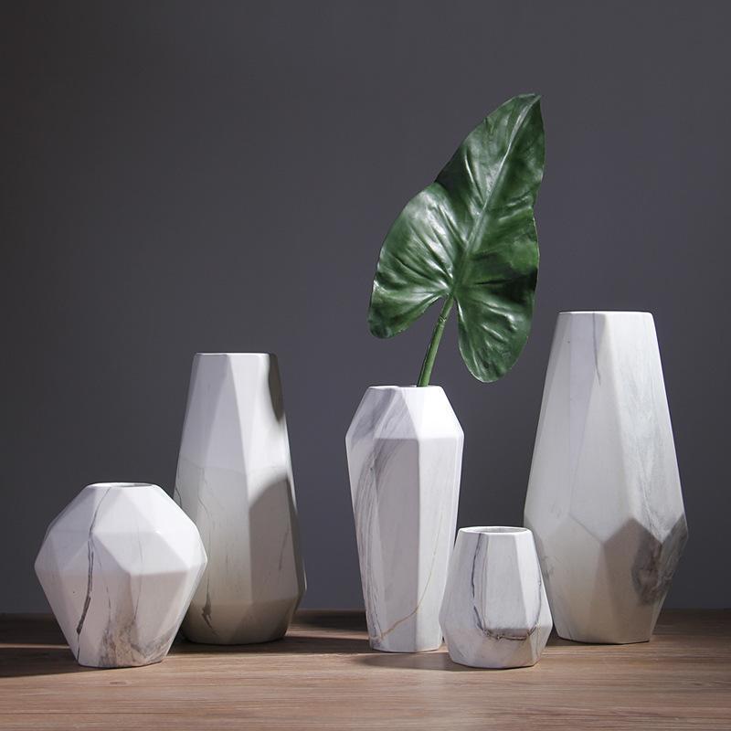 Großhandel Skandinavische Marmor Keramik Vase Geometrische Moderne Design  Keramik Blumenvase Dekoration Handwerk Für Home Living Room Restaurant Von  ...