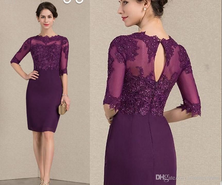 5ebe0b6cc7b Modest Purple Knee Length Mother Of The Bride Groom Dresses Sheer Neck  Illusion Half Sleeves Applique Lace Beads Chiffon Cheap Party Dress Mother  Of Bride ...