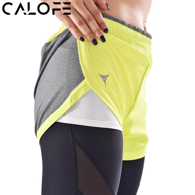 Compre CALOFE Mulheres Shorts De Corrida Respirável Traning Ginásio  Desgaste Elástica Quick Dry Dupla Camada Calções De Segurança De Fitness  Yoga Sportswear ... ddee9ae47b4f9