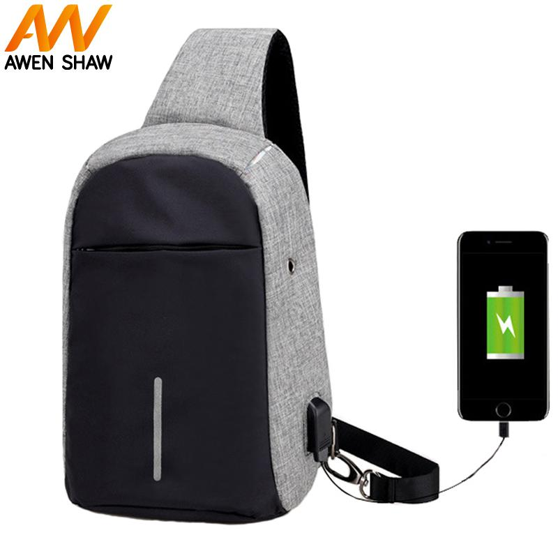 43e7cd4298 Anti-theft USB Charging Chest Bag With Reflective Strip Travel Men ...