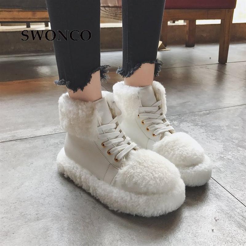 047ce8929 Compre Atacado Das Mulheres Flats Sapatilhas 2018 Moda Inverno Cor Sólida  Sapatos De Neve Da Menina Sapatos Femininos De Inverno De Couro Não  Deslizamento ...