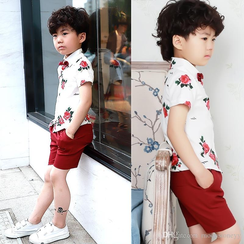 25f9bbfd0e71 Baby Kids Summer School Suit Gentleman Dress Shirt Shorts Tie Boys Clothing  SetFormal Wedding Birthday Party Costume F138 Online with  73.15 Piece on  ...