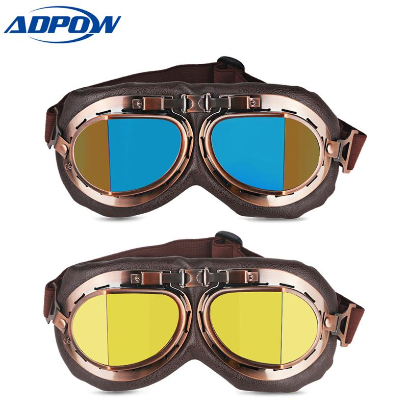 daaa9982b Vintage Motocross Classic Goggles Retro Aviator Pilot Cruiser Steampunk ATV  Bike UV Protection Motorcycle Goggles Glasses Sport Goggles Over Glasses ...
