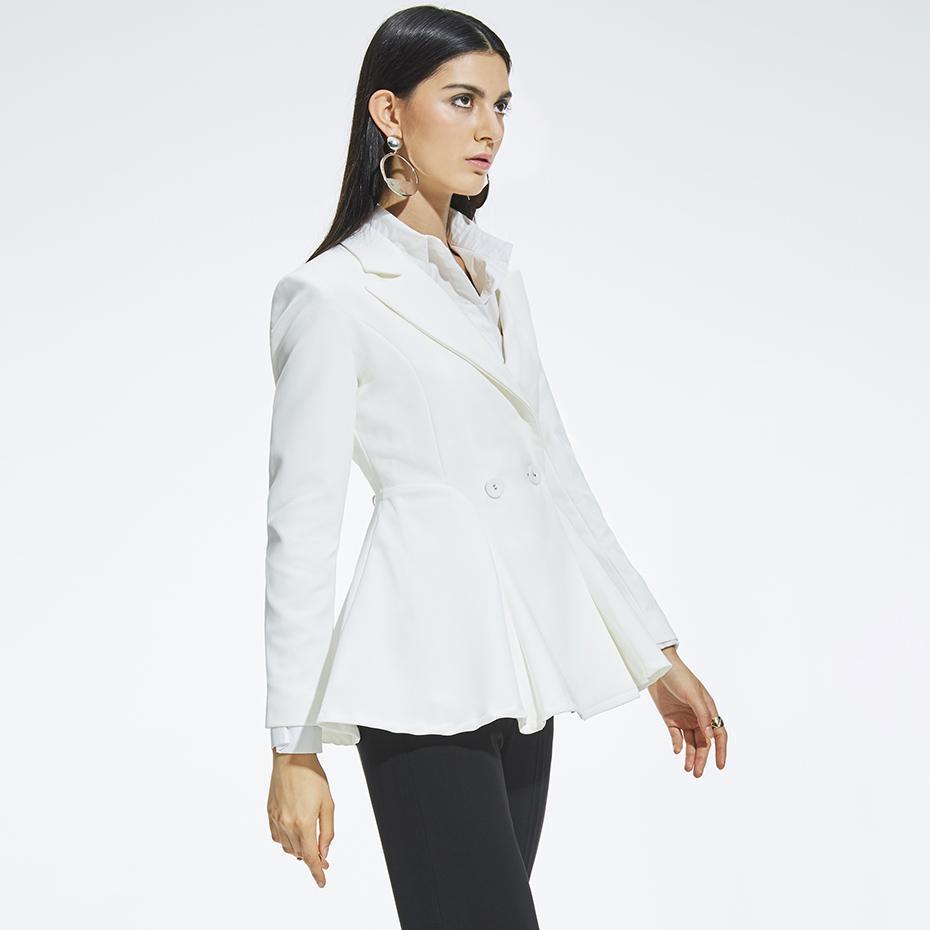 e23d1853e85b Acheter Femmes Blazer Blanc Manteau De Mode À Manches Longues Veste De  Travail Formelle Survêtement Printemps À Encolure Jupe À Revers Bureau  Élégant ...