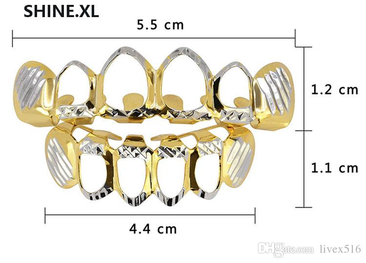 New Gold Silver Hollow Open Dlampnd Cut 6 Teeth Top & Bottom Grills Teeth Caps Hip Hop GRILLZ Set Party Jewelry