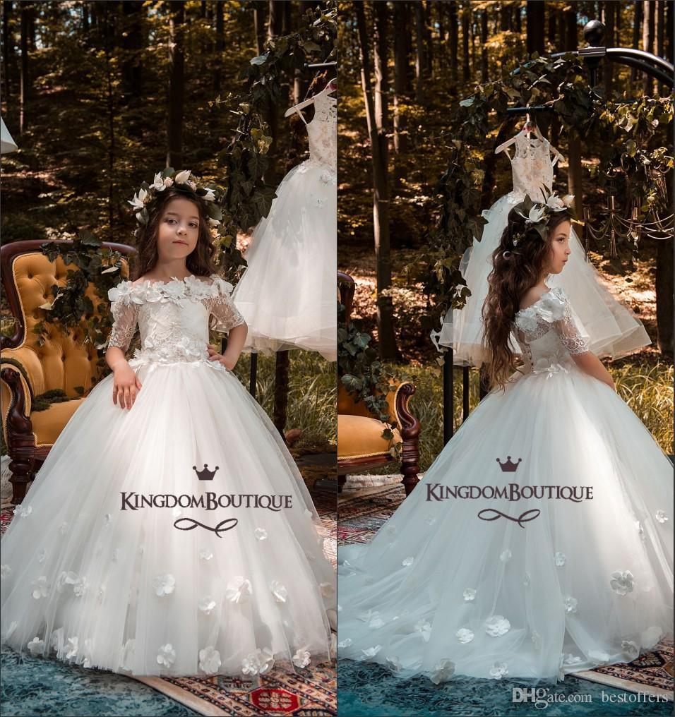8bad6a56c Lovely Princess Flower Girl Dresses For Wedding Off The Shoulder ...
